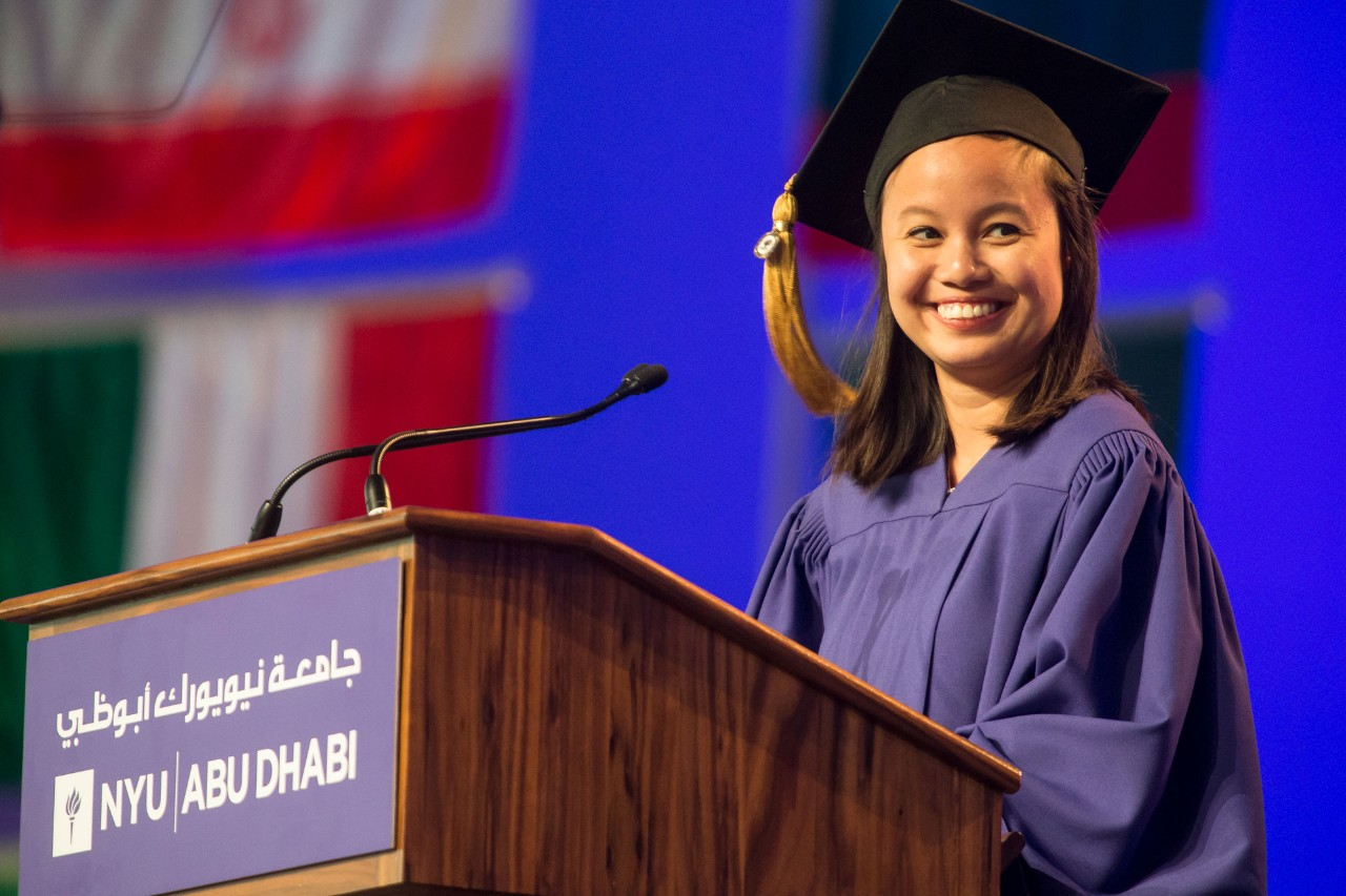 Kimberly Rodriguez, Class of 2015 speaks at the NYUAD Commencement Exercises on Saadiyat Campus on May 24, 2015.