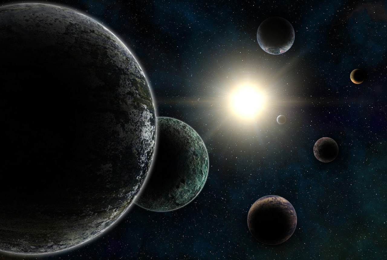 3D render of unreal Trappist-1 exoplanets system