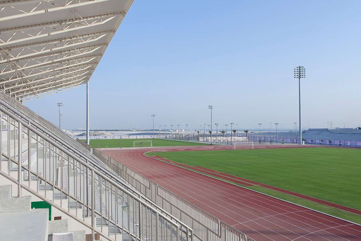Outdoor track and fields on campus