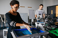 Students working on silkscreen
