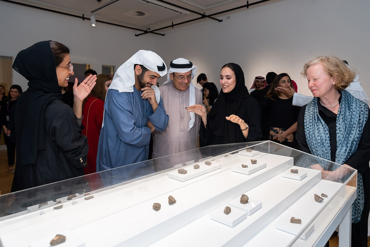 His Highness Sheikh Zayed bin Sultan bin Khalifa Al Nahyan and Her Excellency Noura Al Kaabi having a tour at the exhibition