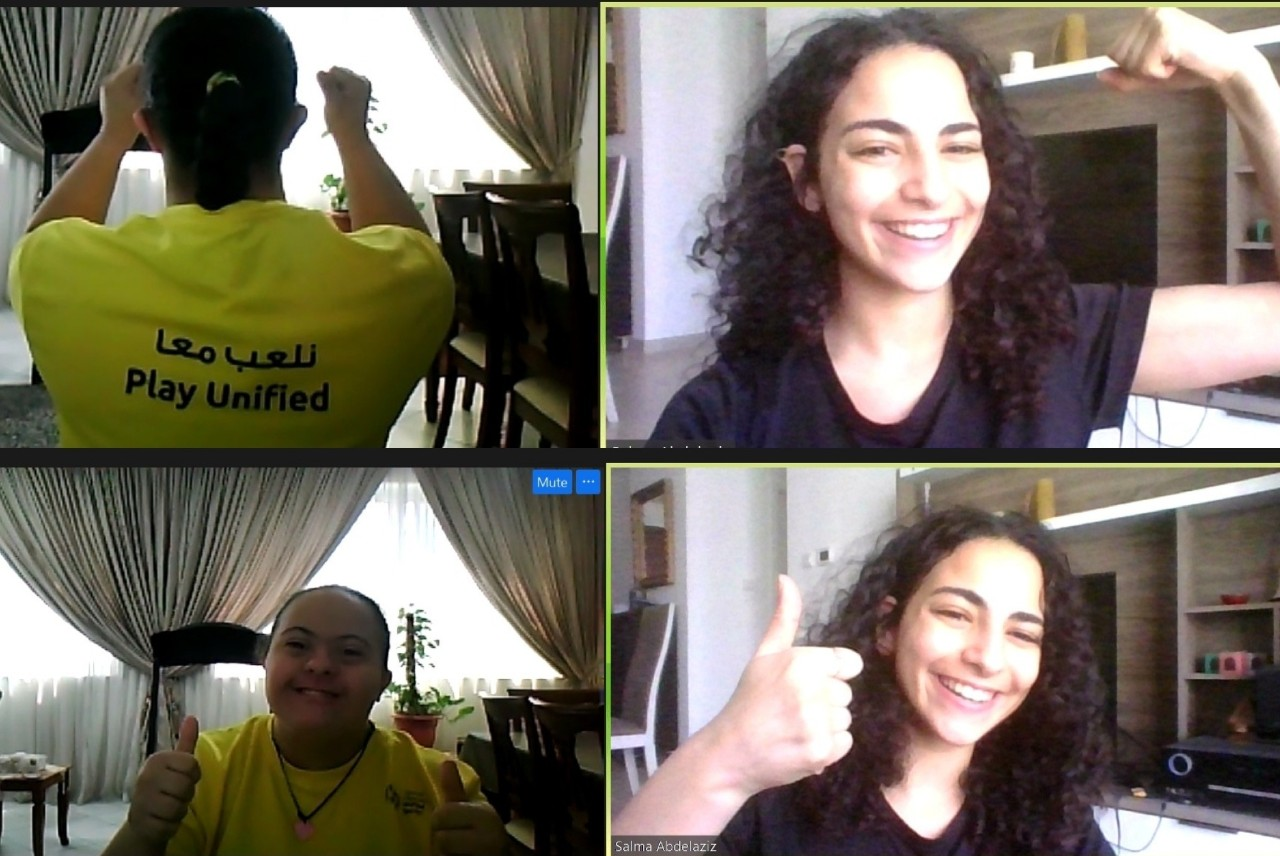 NYUAD Class of 2023 student Salma Abdelaziz with Special Olympics athlete Nour El Akhdar