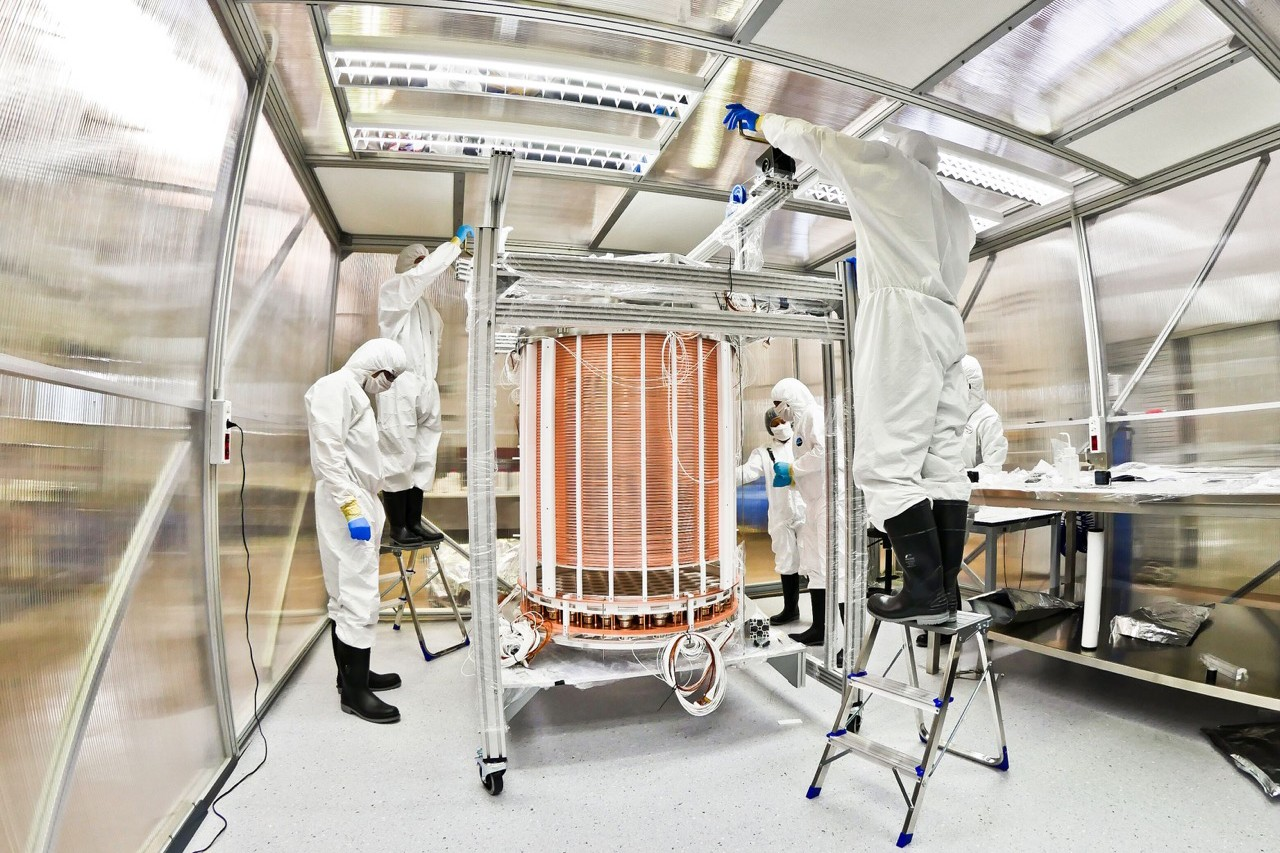 Scientists work with the XENON 1T device located in a special physics lab deep underneath a mountain in central Italy. It is the world's most sensitive tool to find dark matter. NYUAD is a collaborating institution on the experiment.