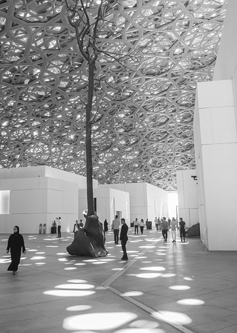 The Louvre Abu Dhabi is an art and civilization museum, located in Abu Dhabi, United Arab Emirates