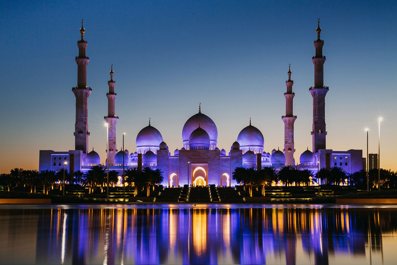 The Sheikh Zayed Mosque in Abu Dhabi.