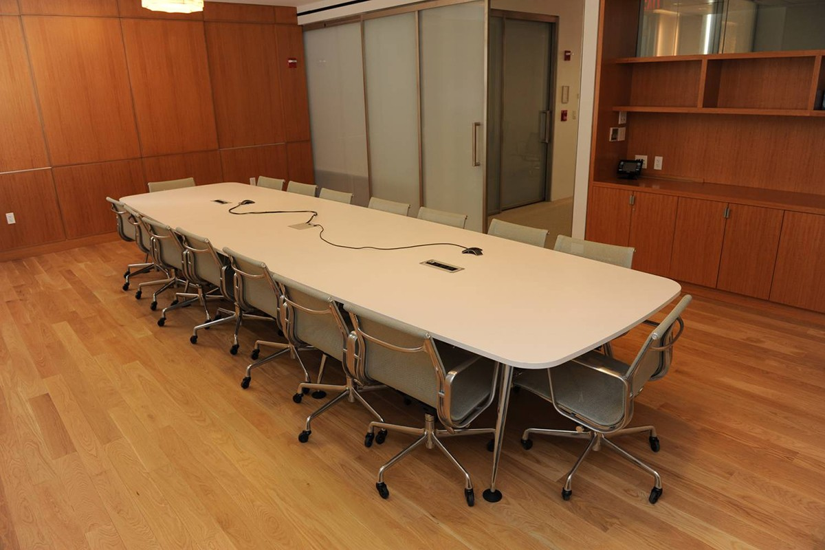 The Saadiyat Room at 19 Washington Square North is used for small meetings and presentations.