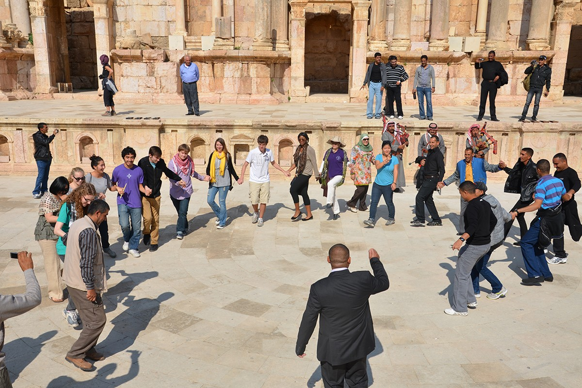 Arabic Language Instructor Khulood Kittaneh and Director of Arabic Studies Muhamed Al Khalil took students to Petra, Jordan, over Eid in November 2011.