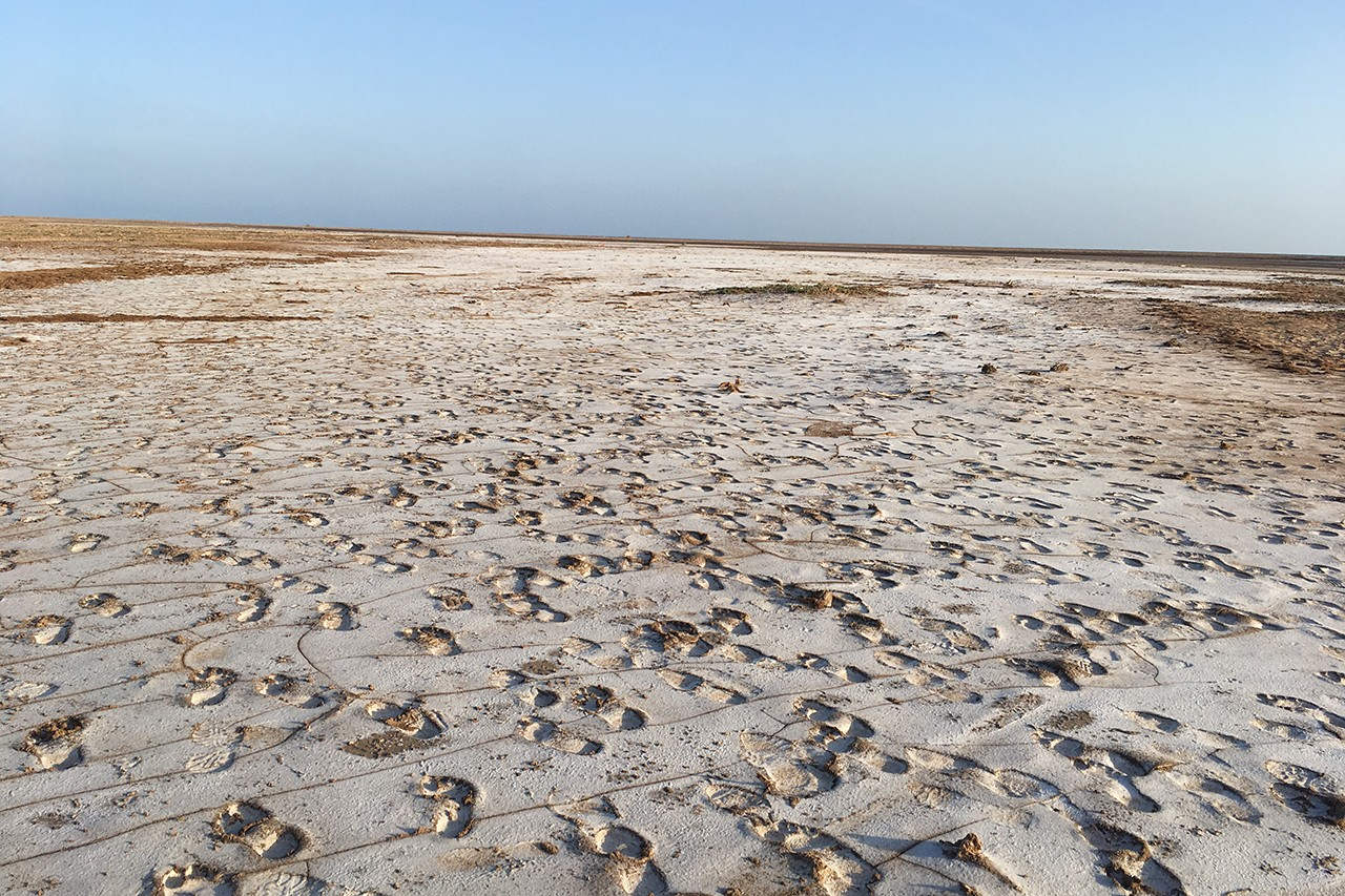 Footprints of migrants walking along Djibouti's northern coast prior to crossing the Red Sea to reach Yemen, January 2019 (photograph by Nathalie Peutz)