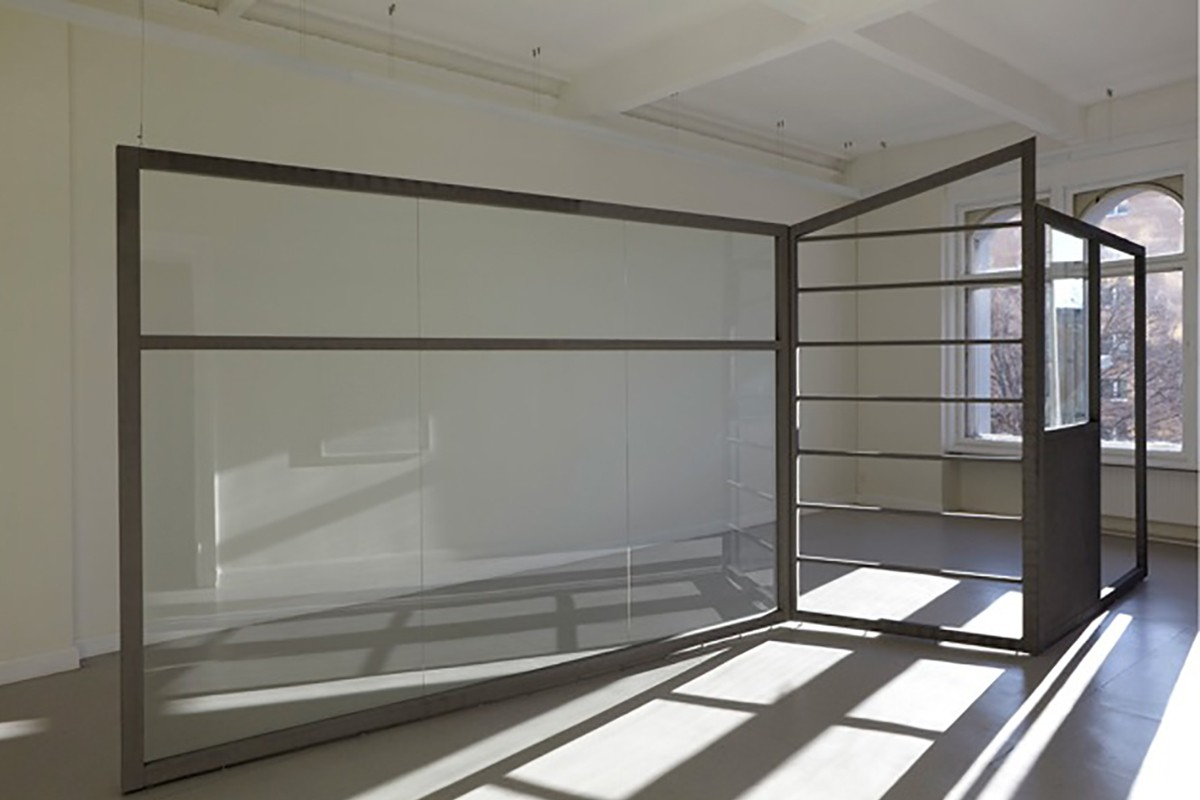 Material: wood, glass, gray paint on casein foundation