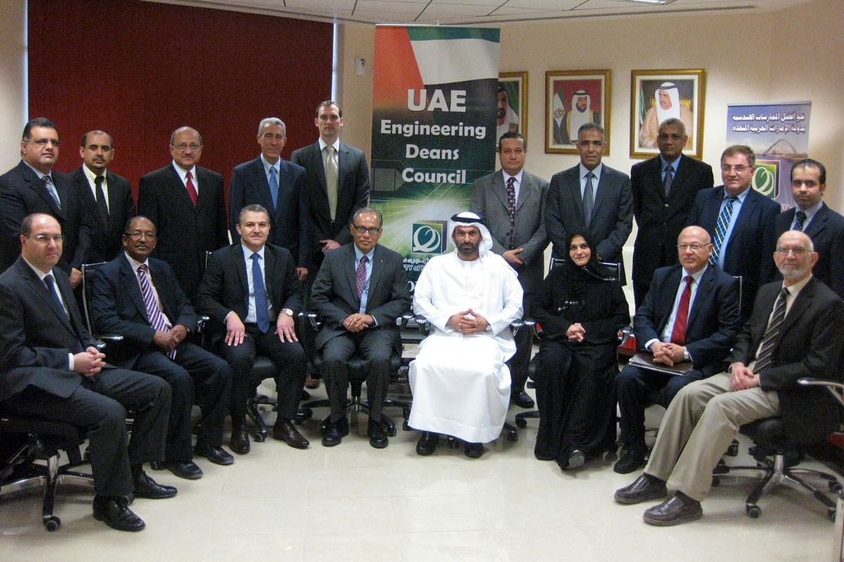 Representatives of 15 member institutions mark the establishment of the UAE Engineering Deans Council at the headquarters of the Society of Engineers — UAE.