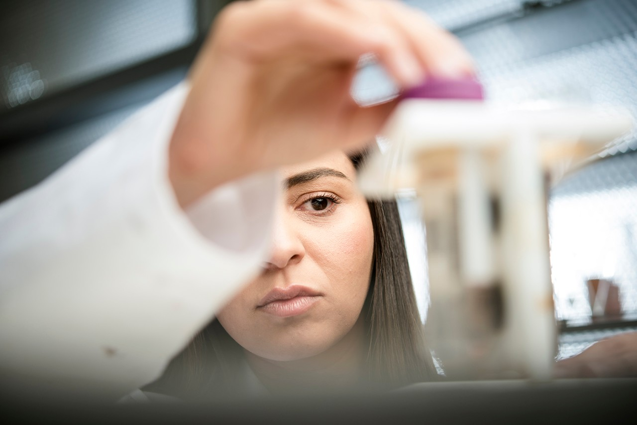 Research scientist Farah Benyattou in a lab at NYU Abu Dhabi.