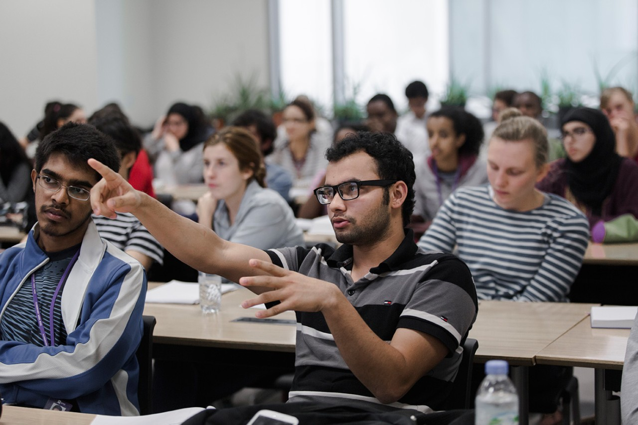 Students in class at NYU Abu Dhabi.