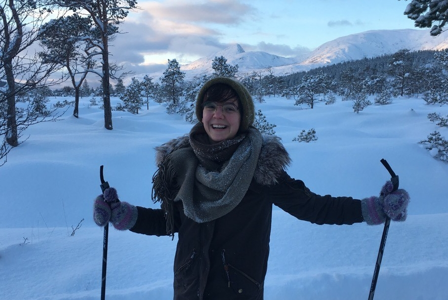 Alumna Evgenija Filova enjoys cross country skiing at her volunteer job in Norway.
