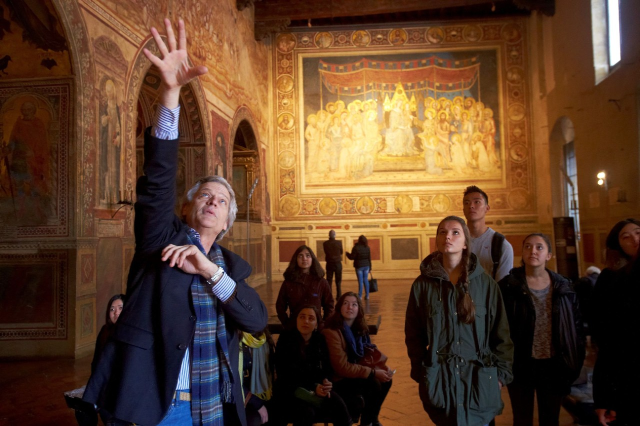 A professor and students in Florence, Italy.
