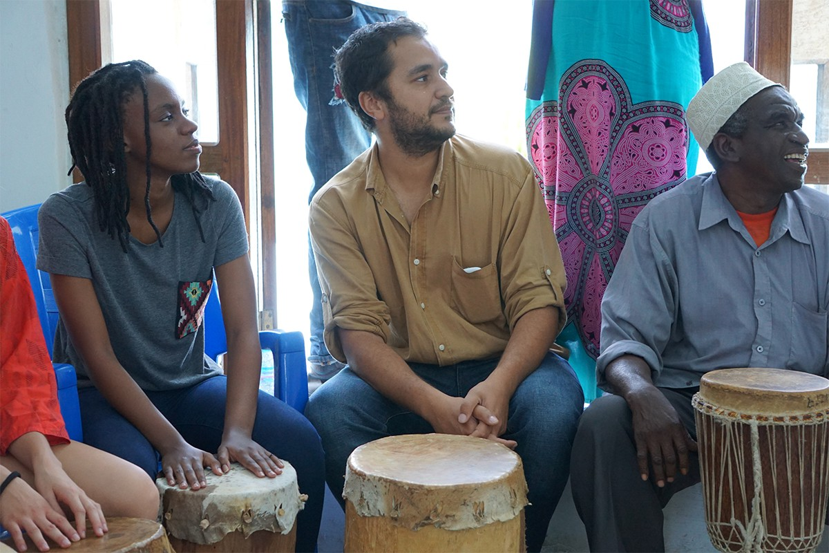 Professors Pedro Monaville (pictured) and Andrew Eisenberg and their students engaging in hands-on learning of Swahili music at the Dhow Countries Music Academy in Zanzibar, Fall 2016.