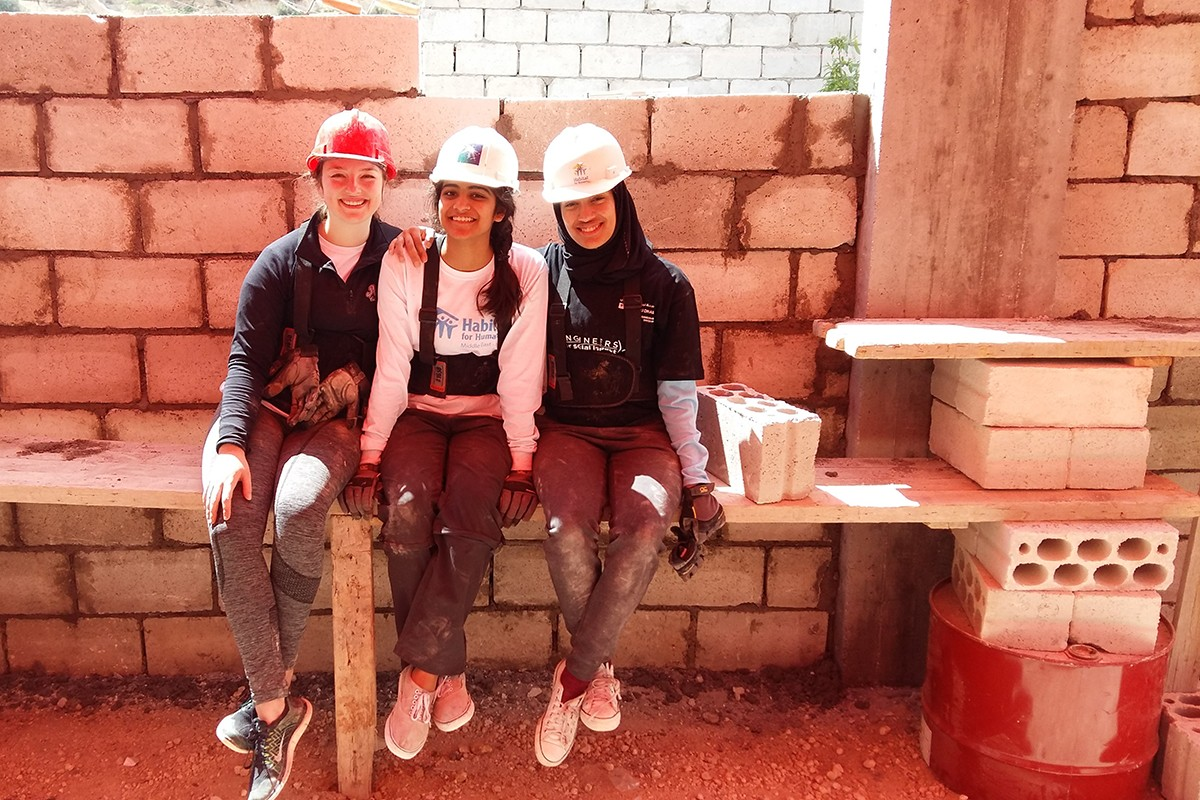 Prajna Soni, Class of 2020 (middle), on a construction project course trip in Jordan.