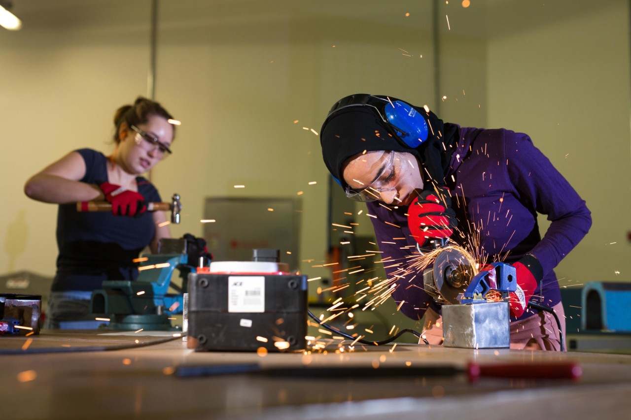 Engineering students work on a project at NYU Abu Dhabi.