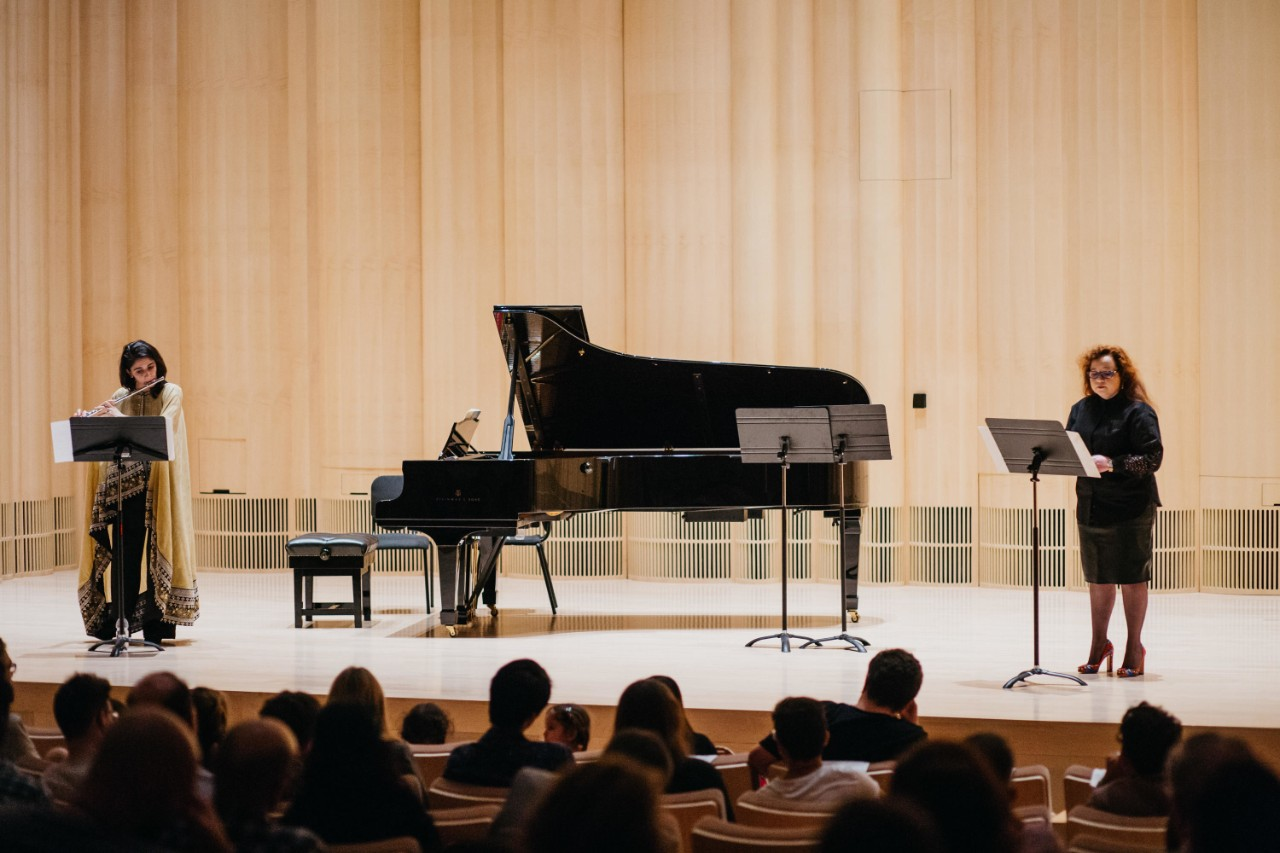 A musical performance in the Arts Center at NYU Abu Dhabi.