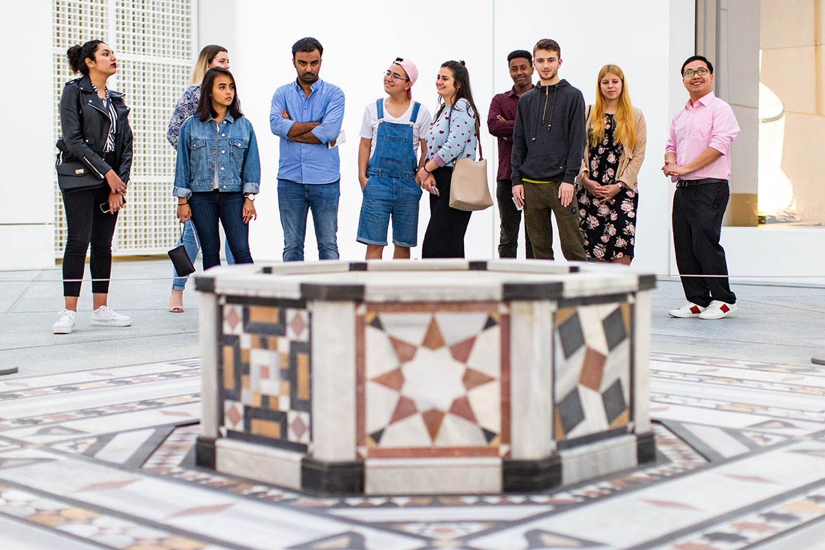 Students visit the Louvre museum in Abu Dhabi as part of their J-Term course.