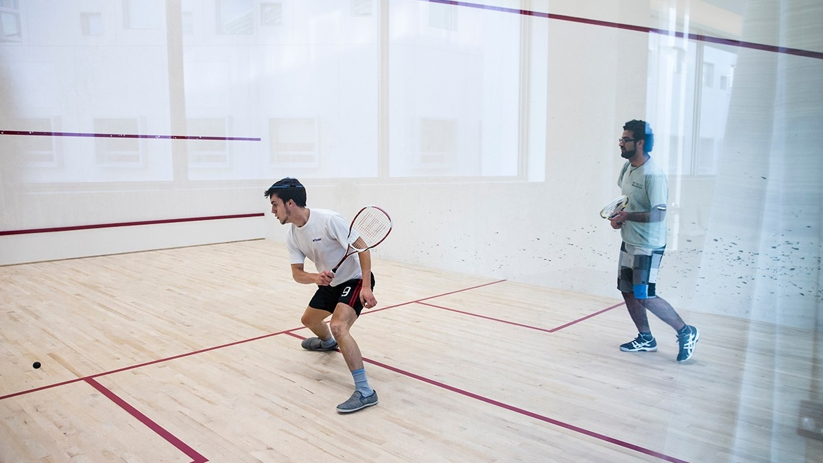 Squash courts on campus.