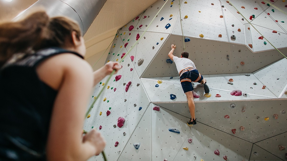 Indoor rock climbing wall on campus