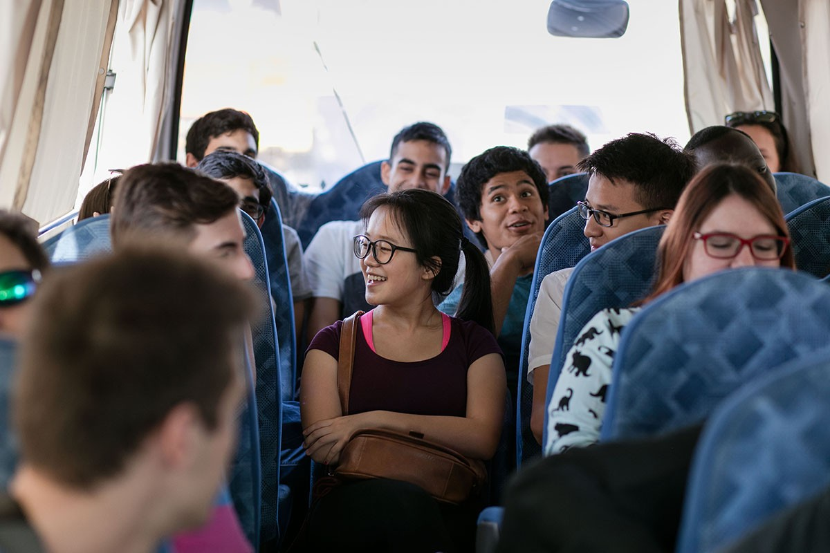 Students take the daily shuttle bus from campus to downtown Abu Dhabi.