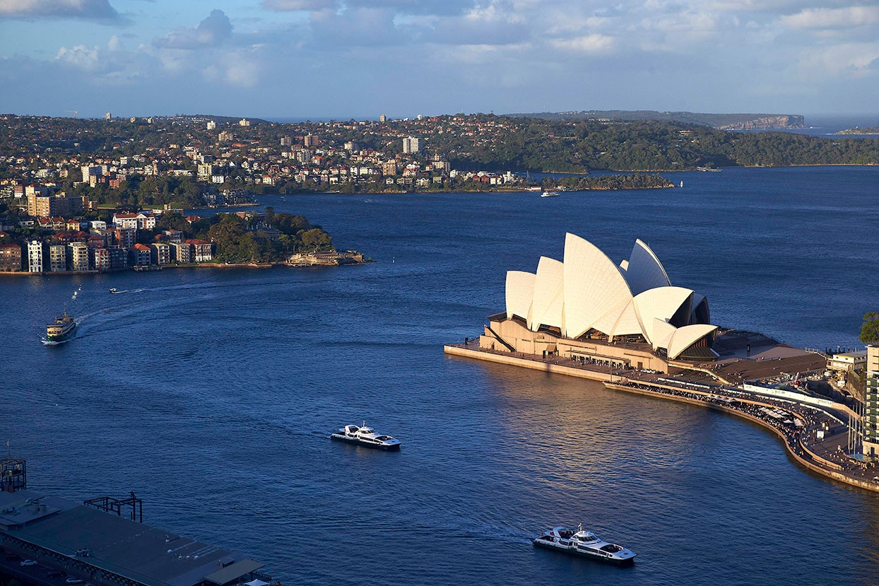 Aerial view of the Sydney Opera House.