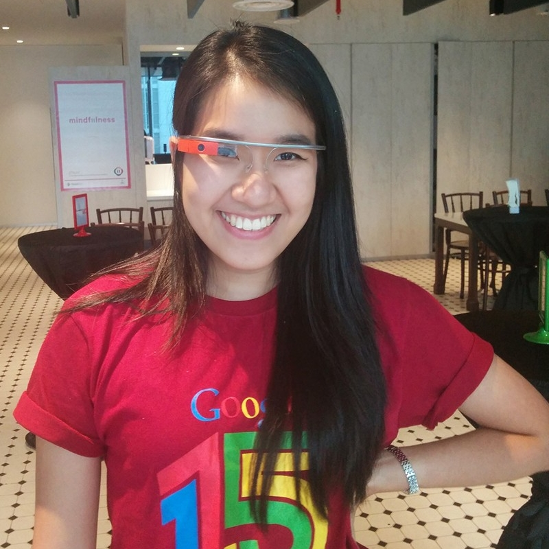Trinh poses in the latest Google wear at her job in Singapore