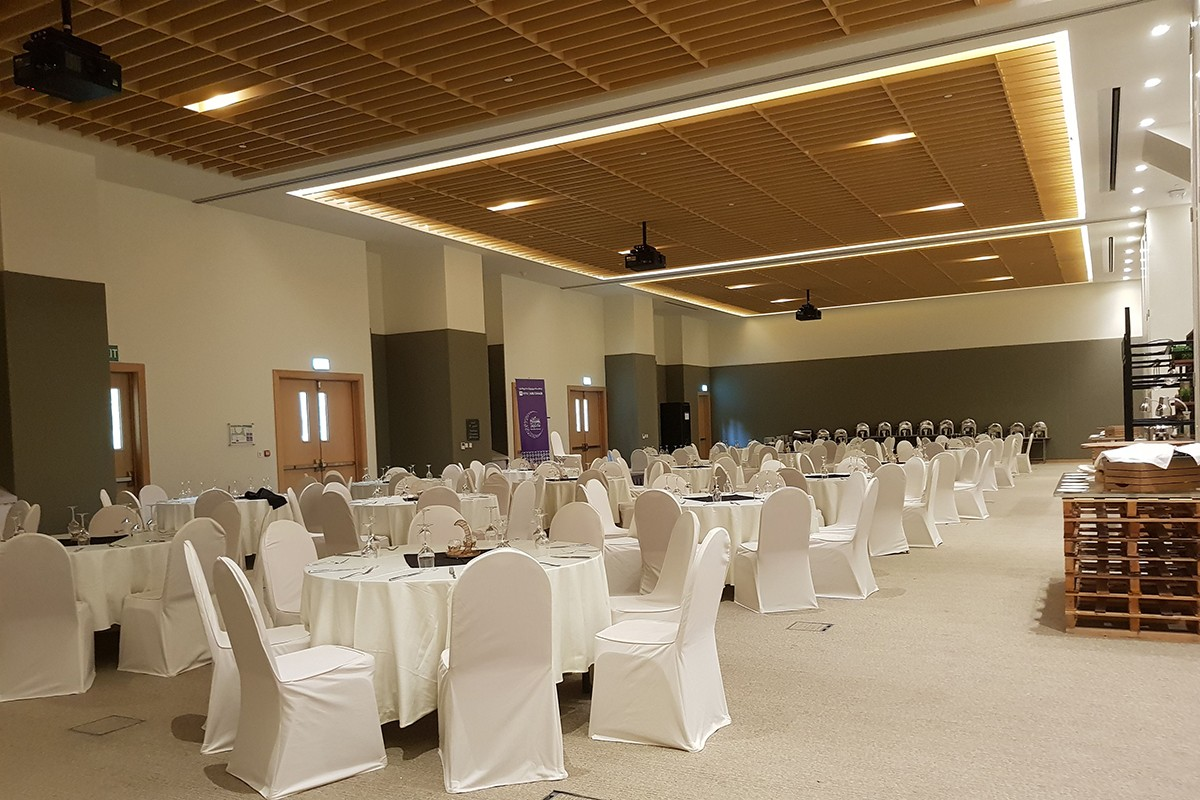 The Conference Center's multi-purpose hall can be divided into three sections, and configured in a variety of set-ups.