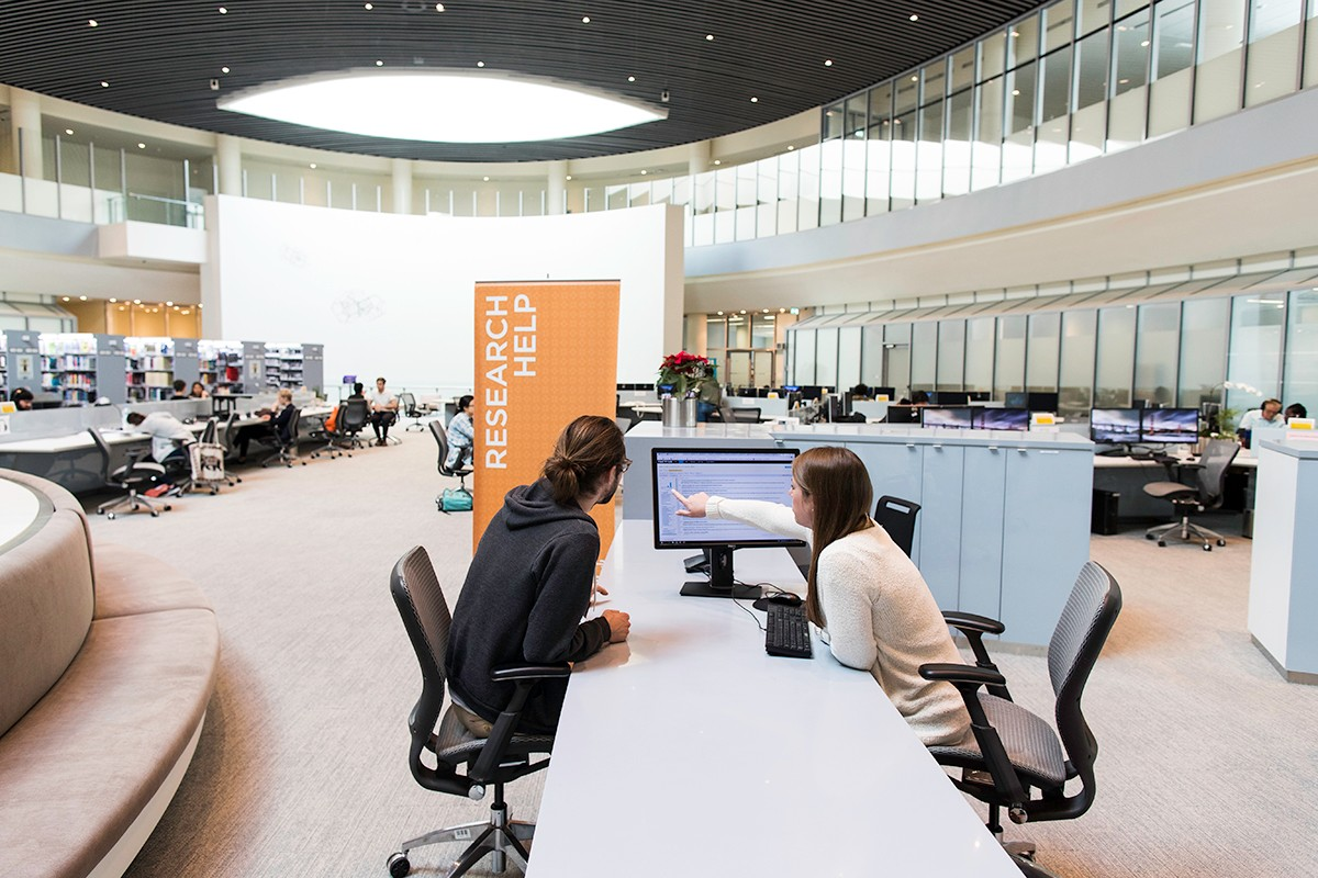 The Research Help Desk at the NYUAD Library provides assistance for students, faculty, and researchers.
