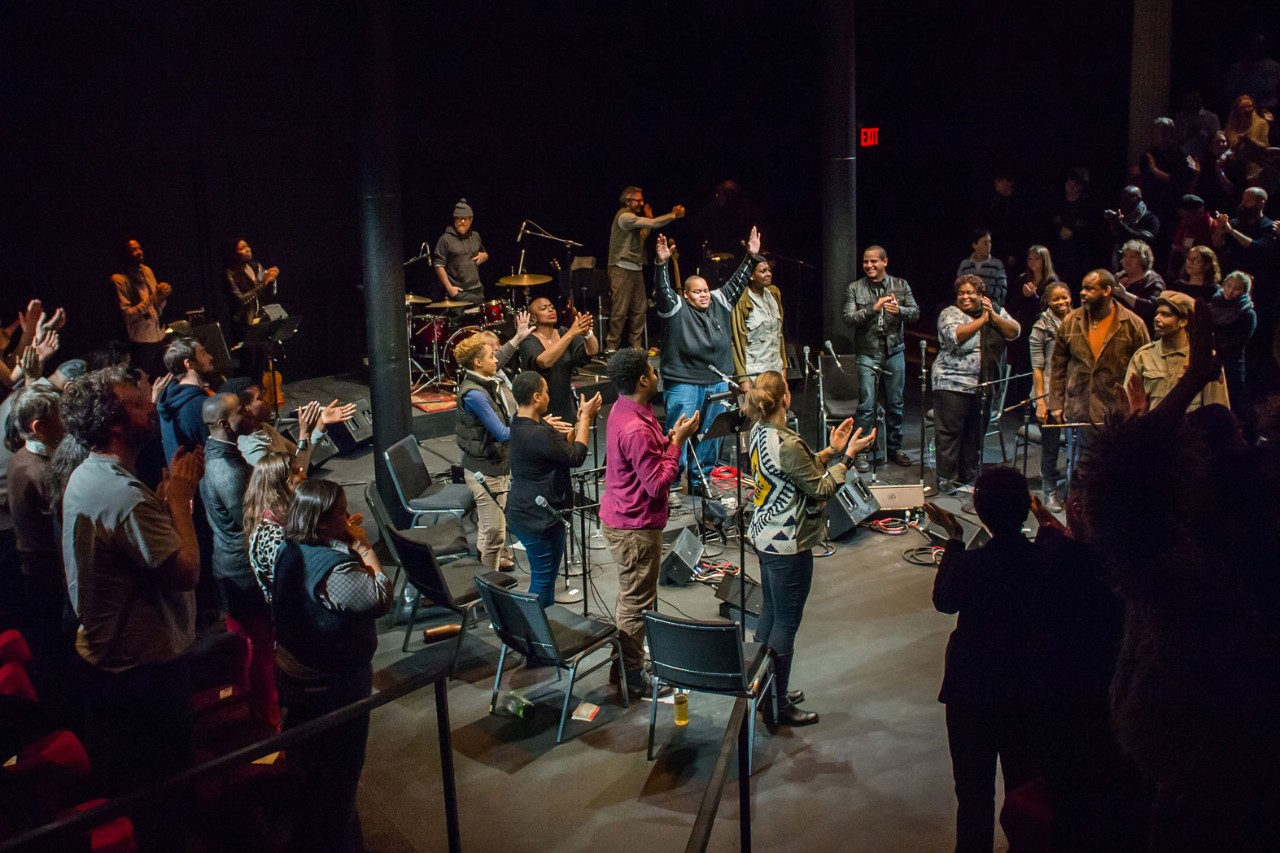 A standing ovation for Toshi Reagon and her ensemble of musicians and actors.