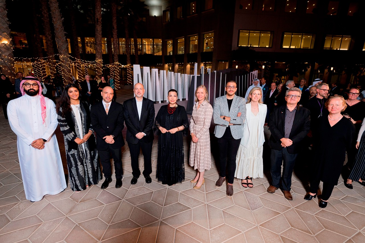 Founder of ADMAF H.E. Huda I. Alkhamis-Kanoo, NYUAD Vice Chancellor Mariët Westermann, Director of the Award Emily Doherty, NYUAD Provost Fabio Piano, Executive Director of The NYUAD Art Gallery and the University's Chief Curator Maya Allison, and the winning artists.