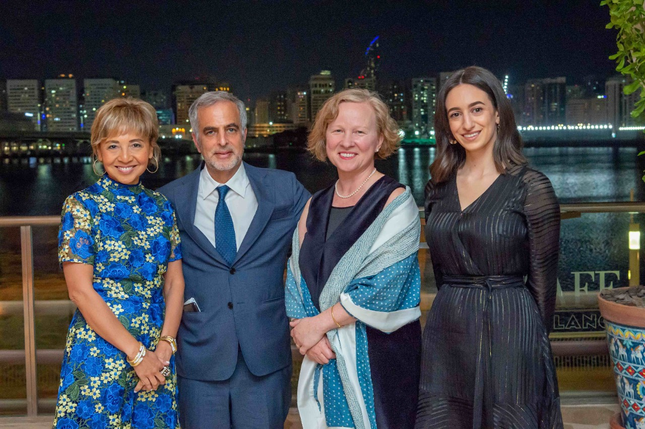 From L to R: General Manager at David Webb Prema O'Grady; Co-owner of David Webb Mark Emanuel; Executive Director of The NYUAD Art Gallery Maya Allison; and David Webb Museum Fellow Tala Nassar.