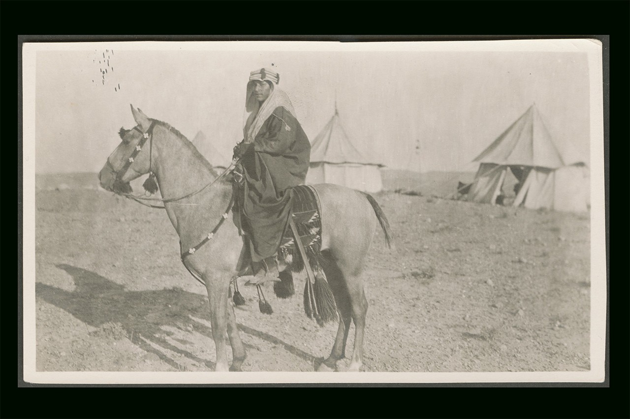 Portrait of a man on a horse, Palestine, circa 1910s-1930s (ref137). Copyright: Gail O'Keefe Edson. Courtesy of Akkasah: Center for Photography.