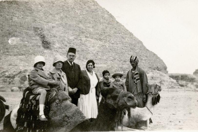 The Abu Shadi family, at the pyramids at Giza, circa late 1920s-early 1930s.