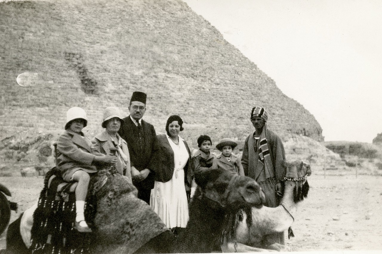 The Abu Shadi family, at the pyramids at Giza, circa late 1920s-early 1930s.