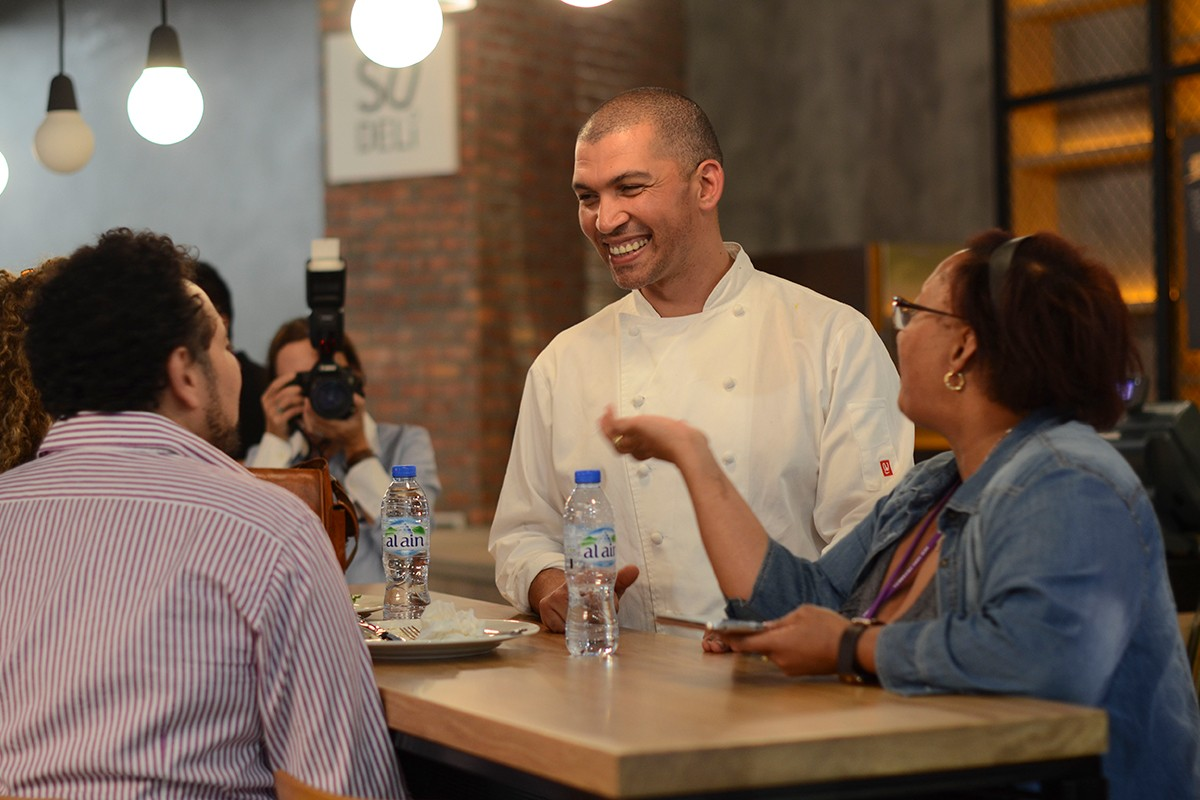 South African celebrity chef and cooking sensation Reuben Riffel visits NYUAD, treating the staff and students to a live cooking demonstration.