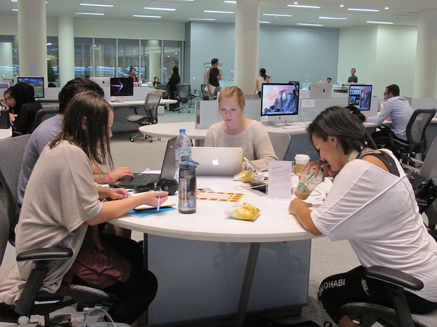 Students gather in the library for the Long Night Against Procrastination, an annual event hosted by the library to help students stay on track with their studies and assignments.