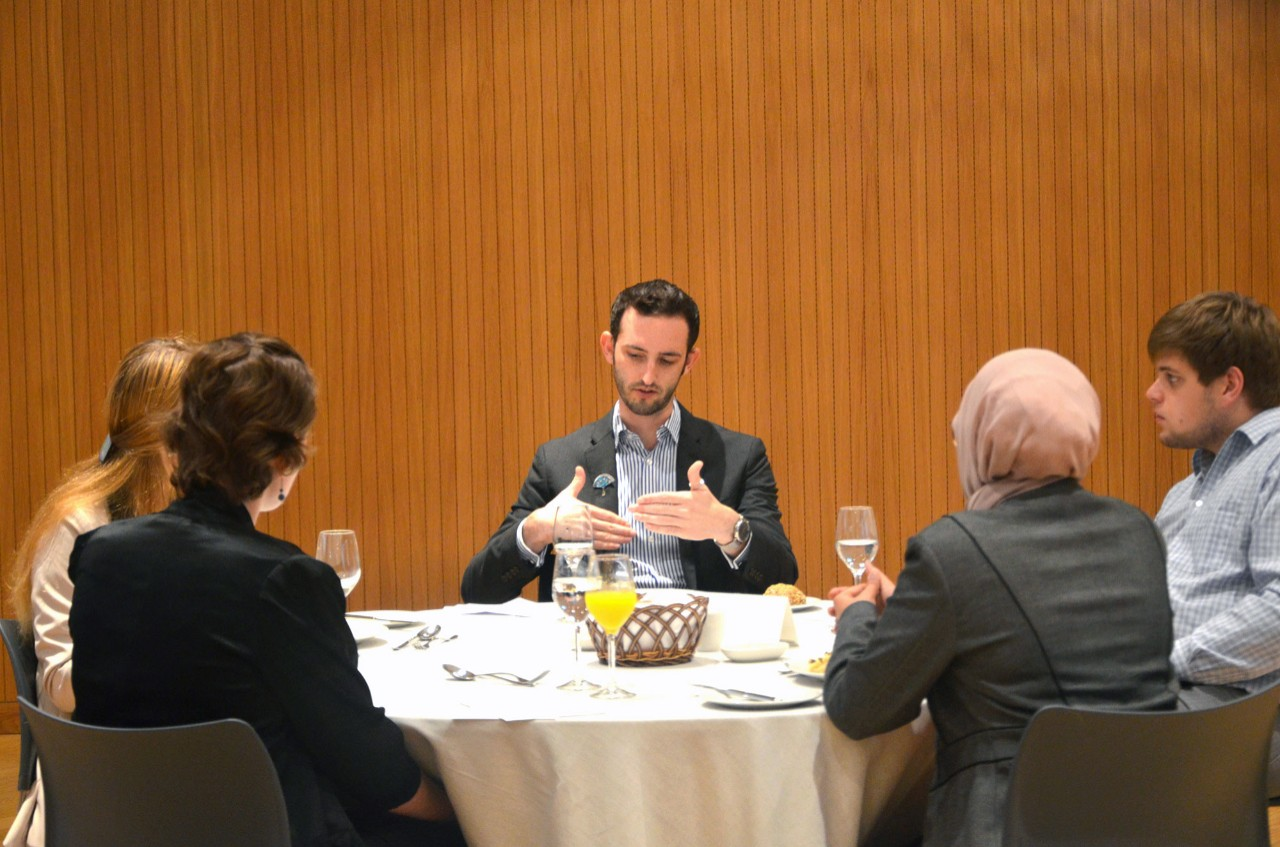 NYUAD's Career Development Center teaches students dining etiquette during mealtime interviews.