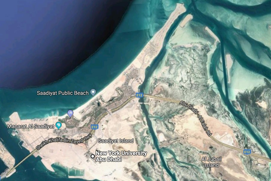 Saadiyat Public Beach is part of the long stretch of nesting ground for hawksbill turtles. NYU Abu Dhabi is not far from it.