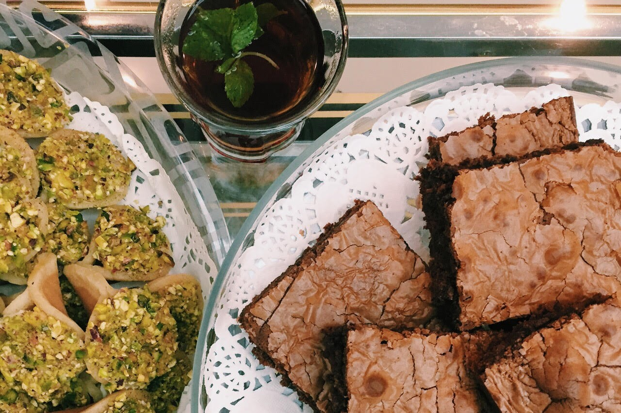 Hot tea with asafeeri, a traditional Ramadan dessert, and Nutella brownies.