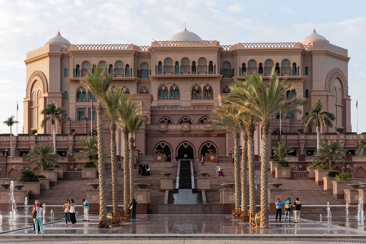 Front entrance of the Emirates Palace Hotel.
