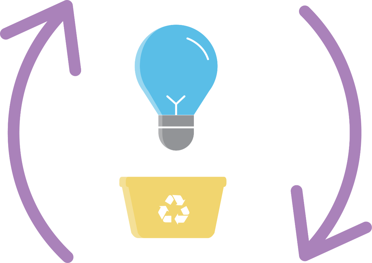 Light bulb recycling icon.