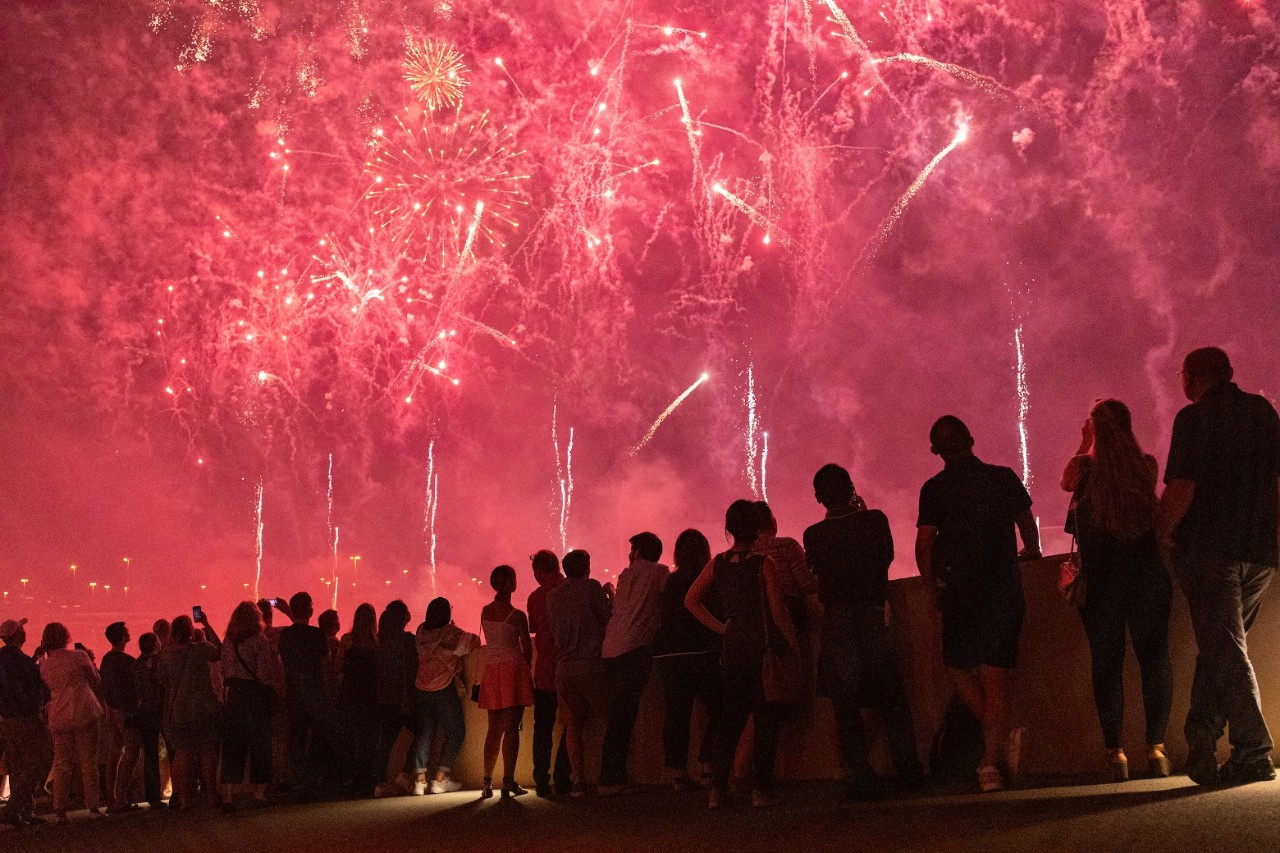 Ma'a Salama Fireworks Celebration at New York University Abu Dhabi in Abu Dhabi, United Arab Emirates on May 26, 2019. Christopher Pike, www.cpike.com