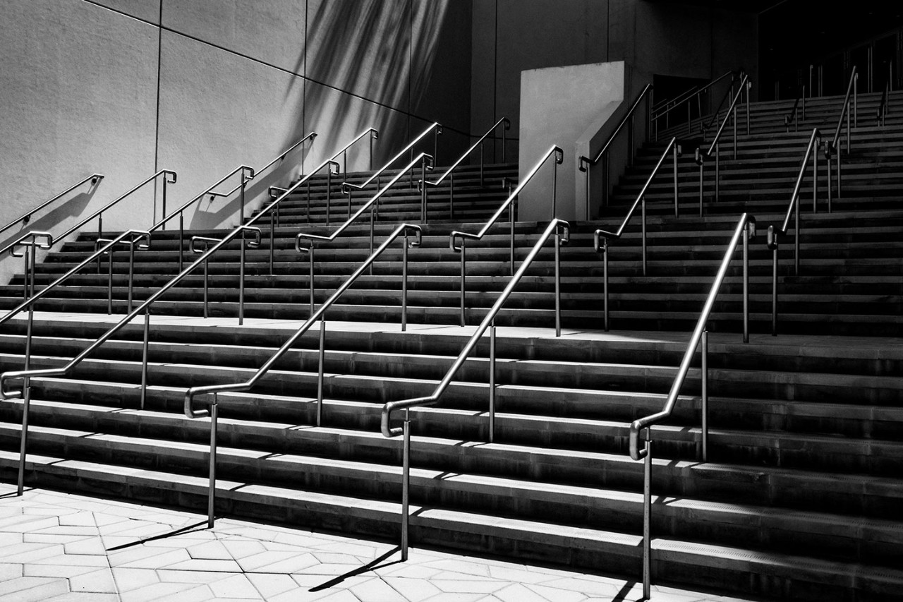 Stairs on campus. Image by @abelerphotos