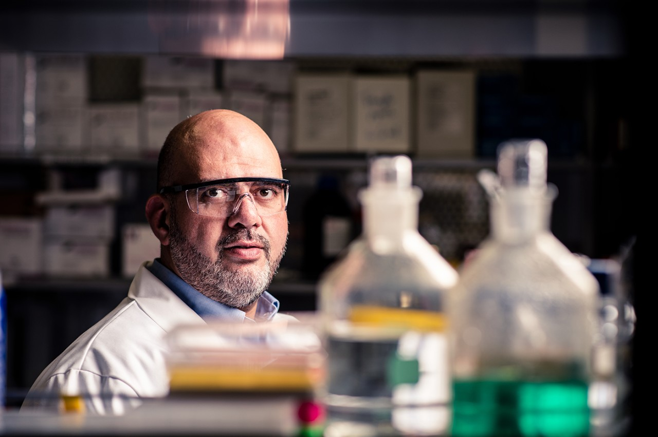 Wael Rabeh, associate professor of chemistry, in his lab at NYUAD.