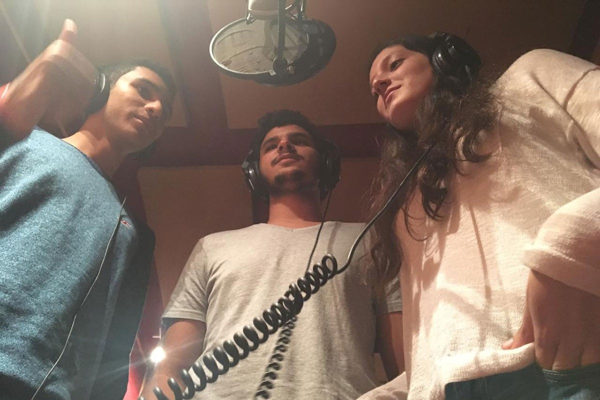 (L-R) Band members of Shaghaf in a recording studio, Youssef Azzam, Ahmed Mitry, and Sara Hussein Fakhry. Image courtesy of Azzam.