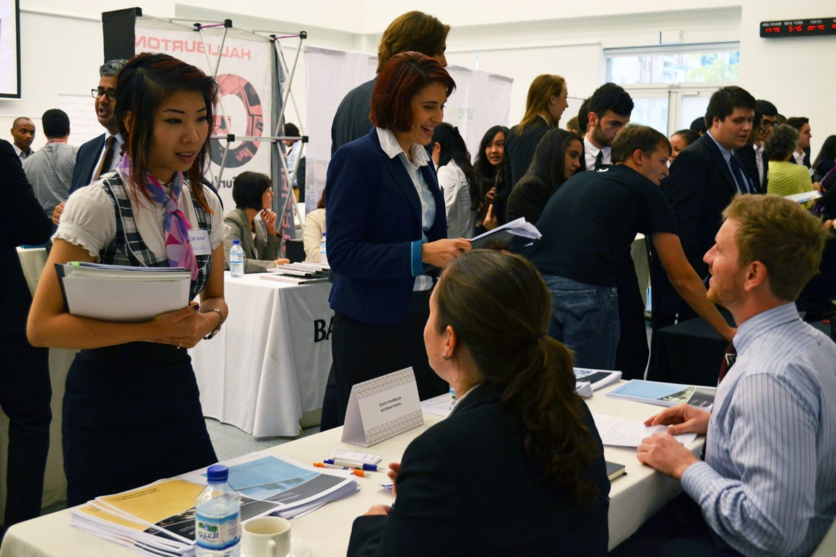 Students canvas the Internship and Opportunities Fairs, held by the NYUAD Career Development Center, for on- and off-campus internship positions.