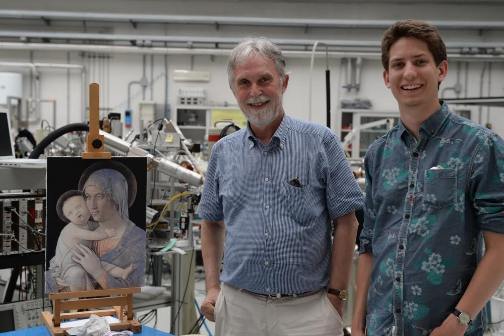 NYUAD student Allen Magnussen (right) is interning with LABEC Director Professor Pier Andrea Mandò (left) in Florence to understand the connection between art restoration and physics.