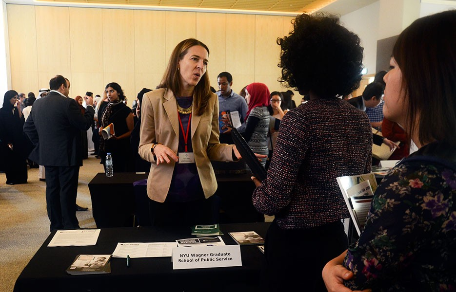 Students explore master's degree options at NYUAD's annual Graduate School Fair.